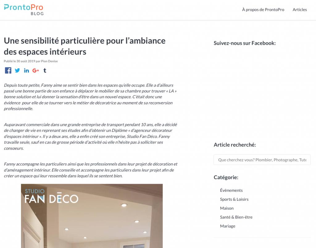article de Fanny Michel sur Pronto Pro